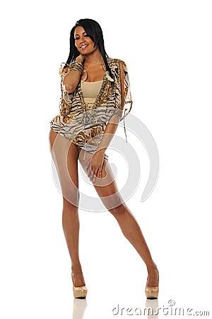 Gorgeous Young Black Woman wearing a short dress