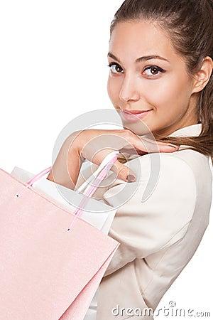 Gorgeous young brunette shopper.