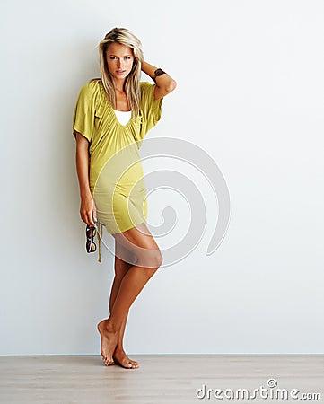 Gorgeous young female fashion model posing