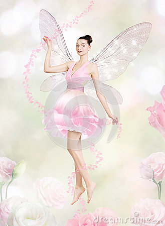 Gorgeous young woman as flower fairy
