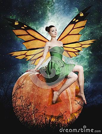 Free Gorgeous Young Woman As Halloween Pumpkin Fairy Stock Photo - 26872710