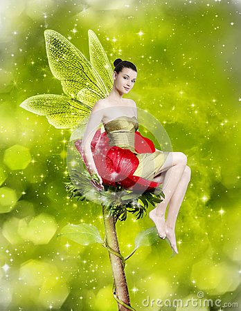 Free Gorgeous Young Woman As Spring Fairy Royalty Free Stock Photos - 30072798
