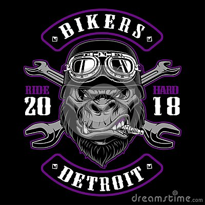 Free Gorilla Biker With Crossed Wrenches. Royalty Free Stock Photo - 119718055