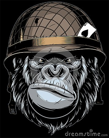 Free Gorilla In The Military Helmet. Royalty Free Stock Images - 128022829