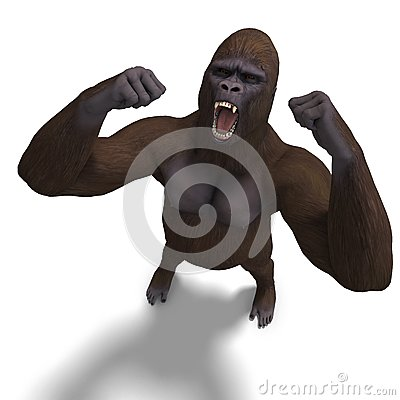 Gorilla roaring. 3D rendering with clipping path
