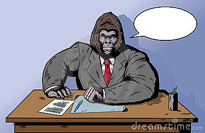 Gorilla in suit at desk