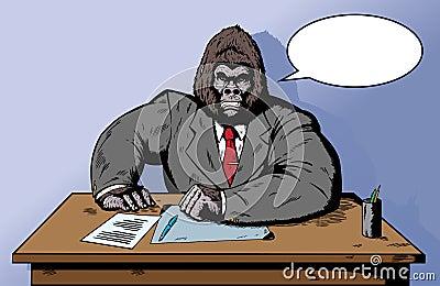 Gorilla in suit at desk