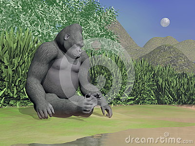 Gorilla thinking next to water - 3D render
