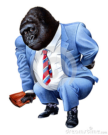 A gorilla tired from business