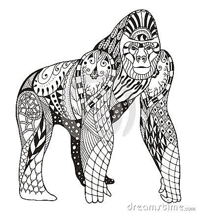gorilla zentangle stylized vector illustration freehand penci pencil hand drawn pattern zen art print coloring books t 66257428