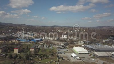 Gorlice, Poland - 3 9 2019: Industrial region of the Carpathian city. Top view of the refinery and auxiliary buildings. Video shot by drone or quadrocopter stock footage