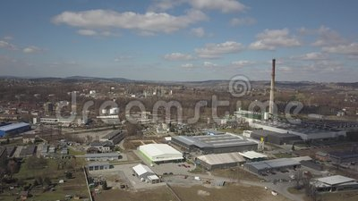 Gorlice, Poland - 3 9 2019: Industrial region of the Carpathian city. Top view of the refinery and auxiliary buildings. Video shot by drone or quadrocopter stock video footage
