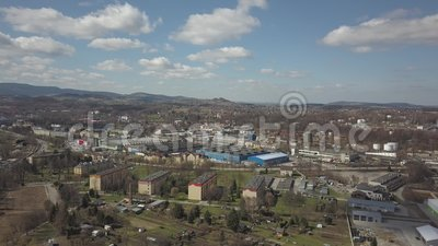 Gorlice, Poland - 3 9 2019: Industrial region of the Carpathian city. Top view of the refinery and auxiliary buildings. Video shot by drone or quadrocopter stock video