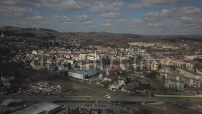 Gorlice, Poland - 4 5 2019: Panorama of the historic center of the European medieval city on the picturesque green hills. Trips to. Architectural monuments stock video
