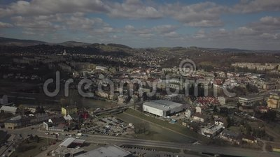 Gorlice, Poland - 4 5 2019: Panorama of the historic center of the European medieval city on the picturesque green hills. Trips to. Architectural monuments stock video footage