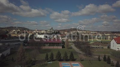 Gorlice, Poland - 4 5 2019: Panorama of the historic center of the European medieval city on the picturesque green hills. Trips to. Architectural monuments stock footage