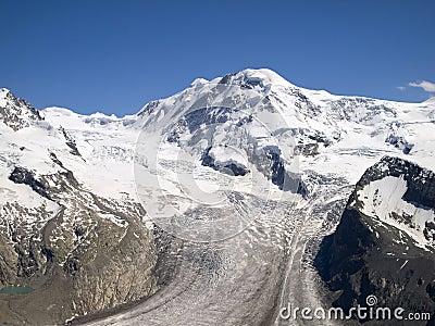 Gorner glacier on the Swiss Alps