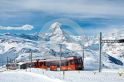 Gornergratbahn train with Matterhorn in background Editorial Stock Photo