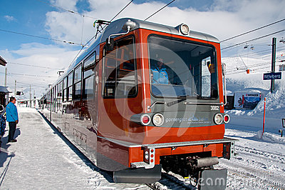 Gornergratbahn train on Riffelberg Editorial Photography