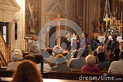 Gospel group singing inside a Church Editorial Stock Photo