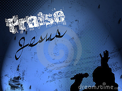 Gospel Singer Silhouette on Grunge Background