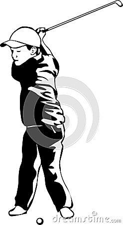 Gosse jouant au golf