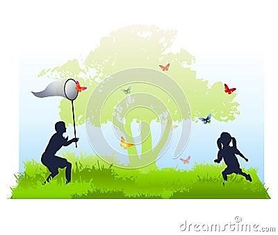 Gosses attrapant des guindineaux en été