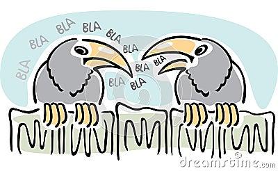 Gossip. Two crows talking.