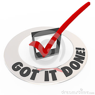 Free Got It Done Check Mark Box Finished Task Job Complete Royalty Free Stock Photography - 34085697