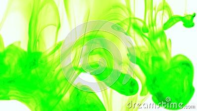 Gota da tinta da cor de alimento verde na água no fundo branco video estoque