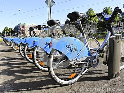 Goteborg Sweden - 9 August 2012  City Bikes in Got Editorial Stock Photo