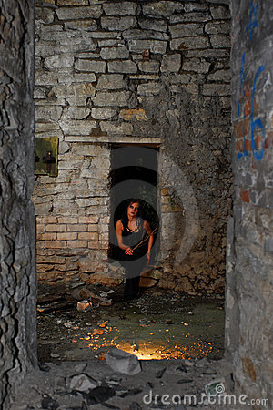 Goth girl in abandoned home