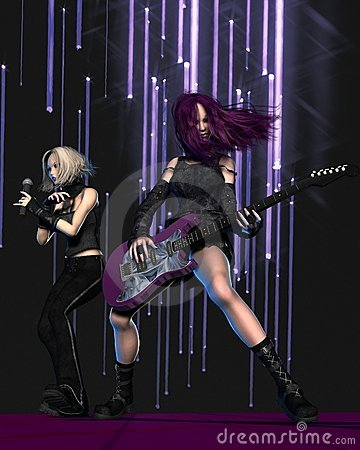 Goth Girl Band on Stage