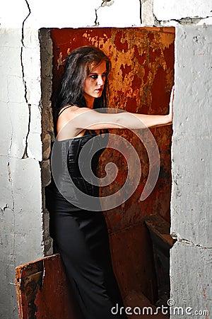 Goth girl in the doorway