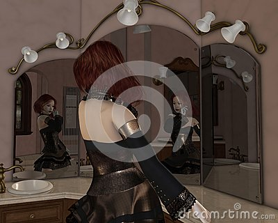 Goth Girl in the Mirrors