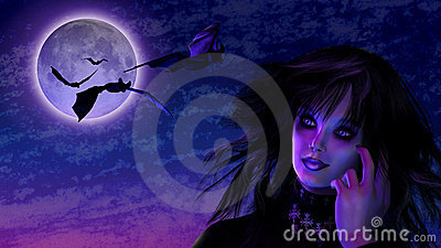 Goth Girl in Moonlight with Bats
