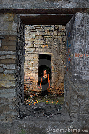Goth girl in old building