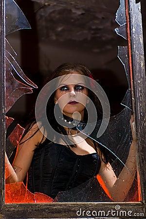 Goth Girl in Window