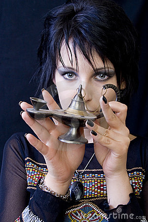 Goth Woman with Aladdin s Lamp