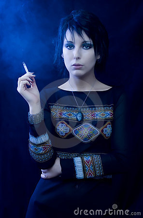 Goth Woman With Cigarette