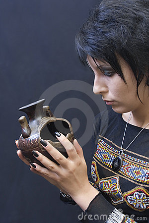 Goth Woman with Pagan Object