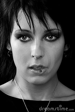 Free Goth Woman Tongue Piercing Stock Photography - 1844402