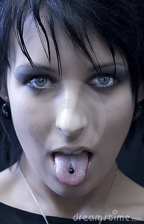 Free Goth Woman Tongue Piercing Royalty Free Stock Image - 1848786