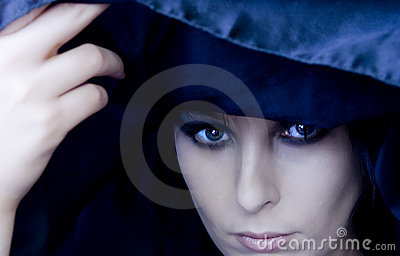 Goth Woman Under Black Scarf