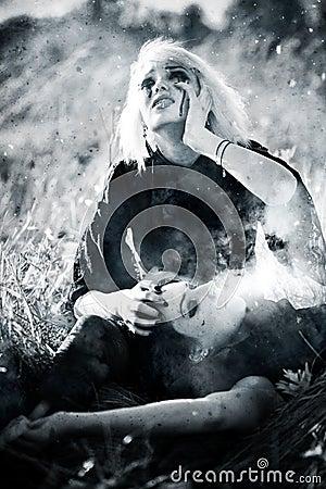 Goth women sorrow concept
