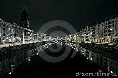 Gothenburg canal night scene