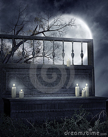 Gothic bench with candles