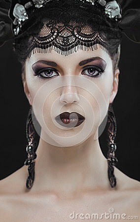 Free Gothic Black Beauty Makeup Portrait Royalty Free Stock Photos - 43876968