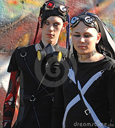 Gothic boys with dracula eyes at Goth-festival  Editorial Stock Photo