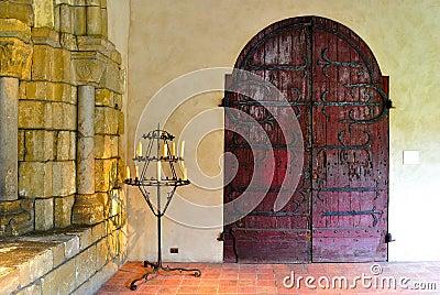 Gothic Castle Interior With Candelabra